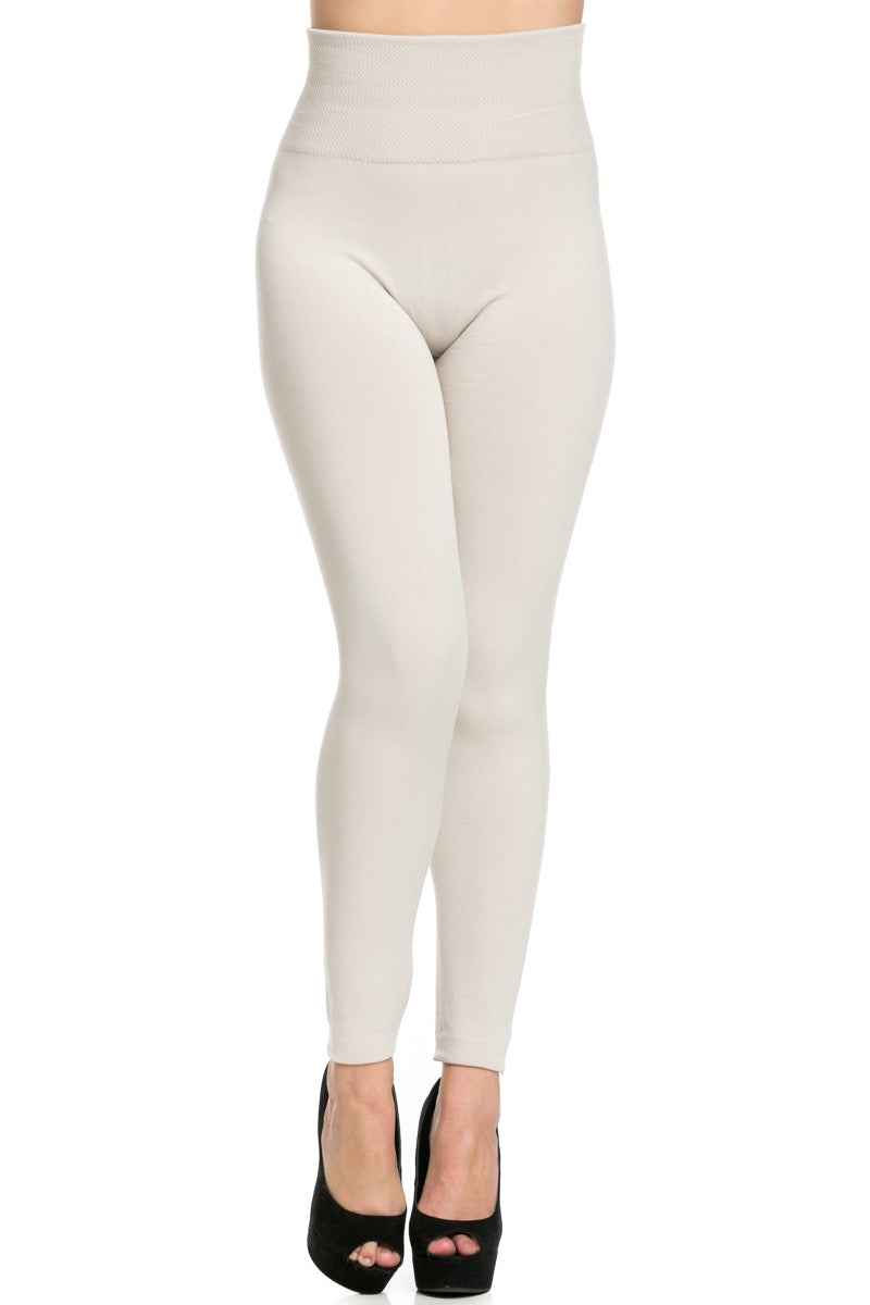 High Waist Fleece Leggings Sand - Leggings - My Yuccie