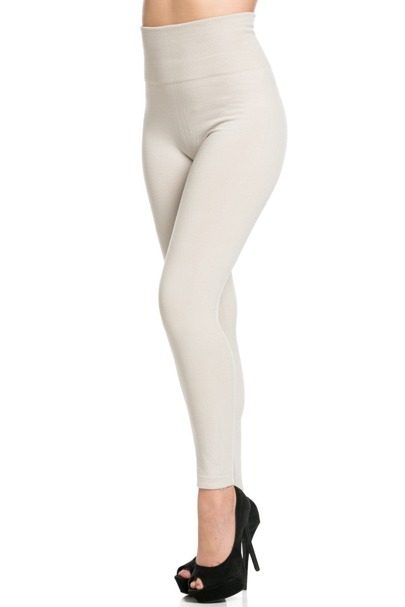 High Waist Fleece Leggings Sand - Leggings - My Yuccie - 2