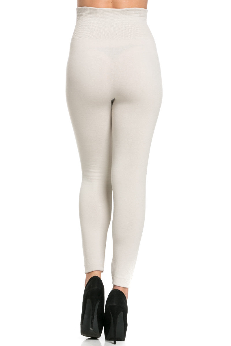 High Waist Fleece Leggings Sand - Leggings - My Yuccie - 3