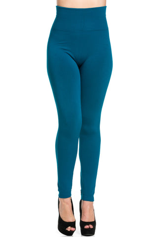 High Waist Fleece Leggings Teal - Leggings - My Yuccie - 1