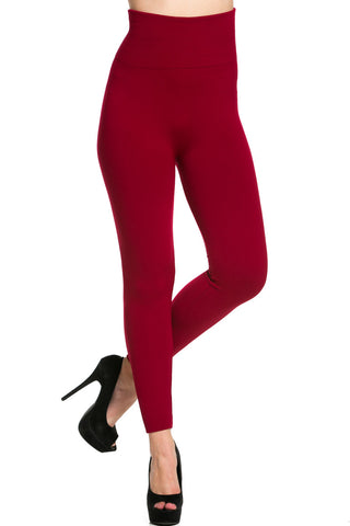 High Waist Fleece Leggings Wine - Leggings - My Yuccie