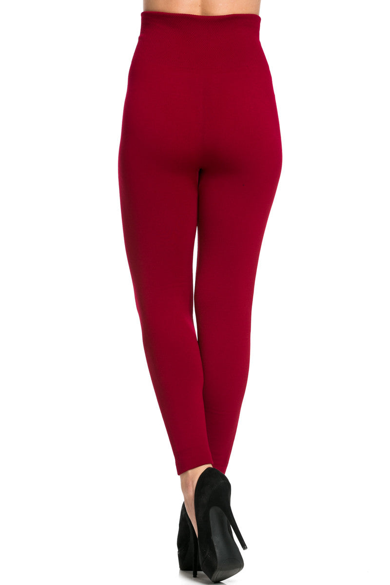 High Waist Fleece Leggings Wine - Leggings - My Yuccie - 3