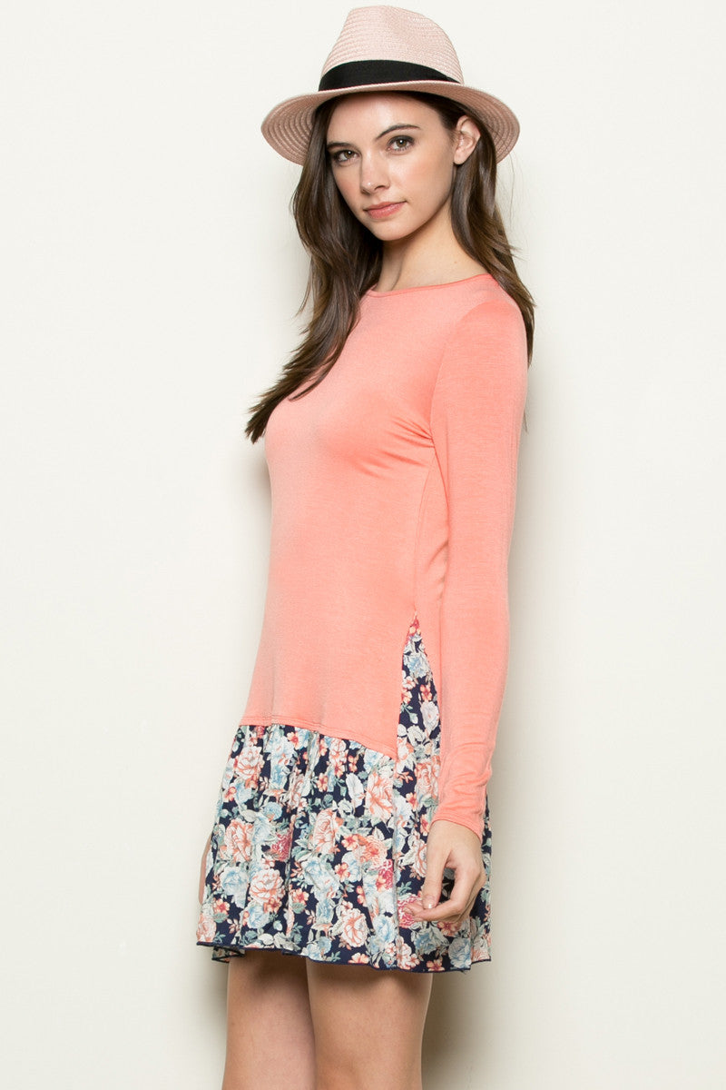 Floral Frill Dress Peach - Tunic - My Yuccie - 2