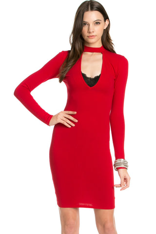 Choker Mini Dress Red - Dresses - My Yuccie - 1
