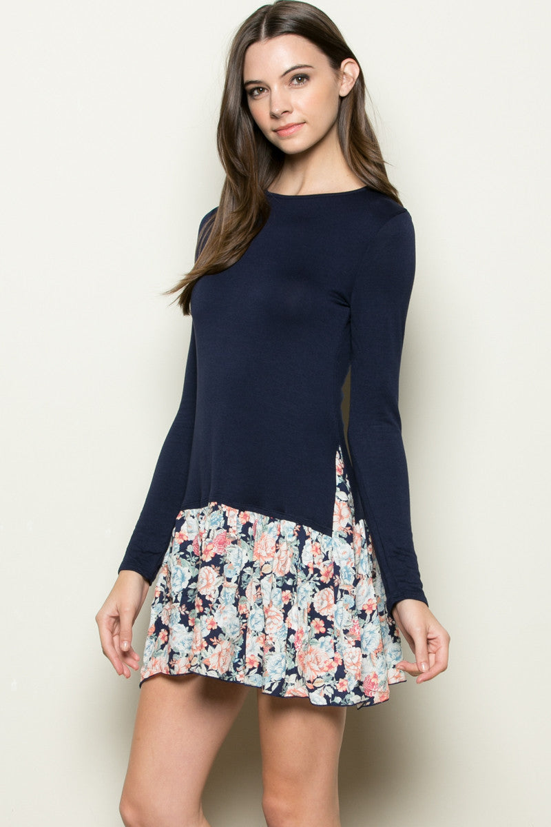 Floral Frill Dress Navy - Tunic - My Yuccie - 5