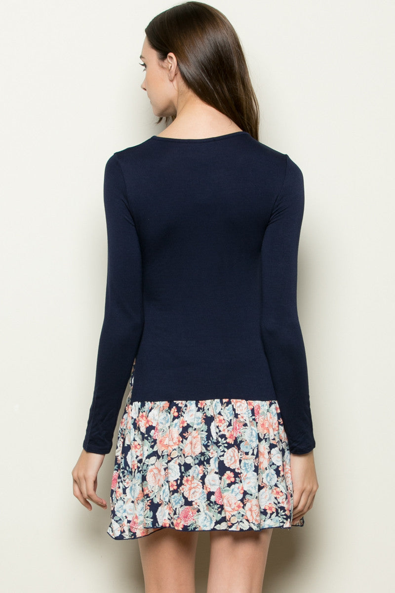 Floral Frill Dress Navy - Tunic - My Yuccie - 6