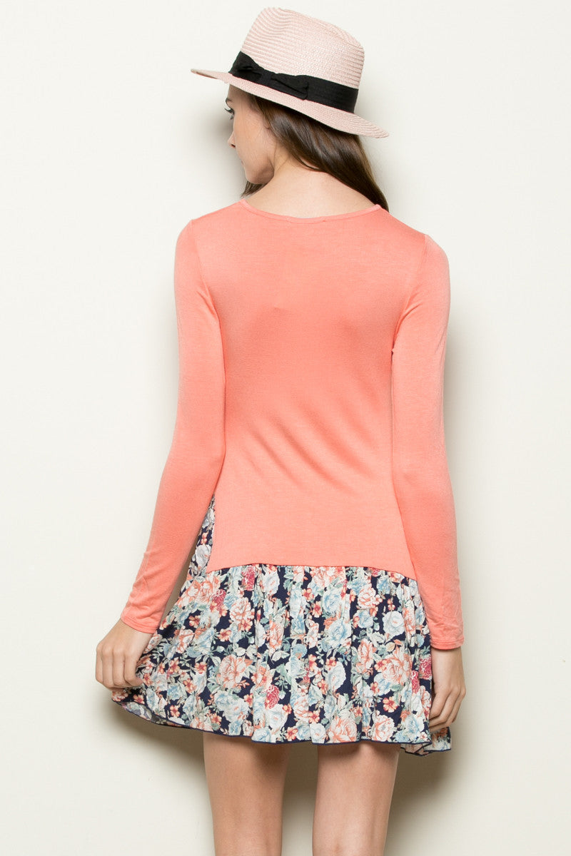 Floral Frill Dress Peach - Tunic - My Yuccie - 3