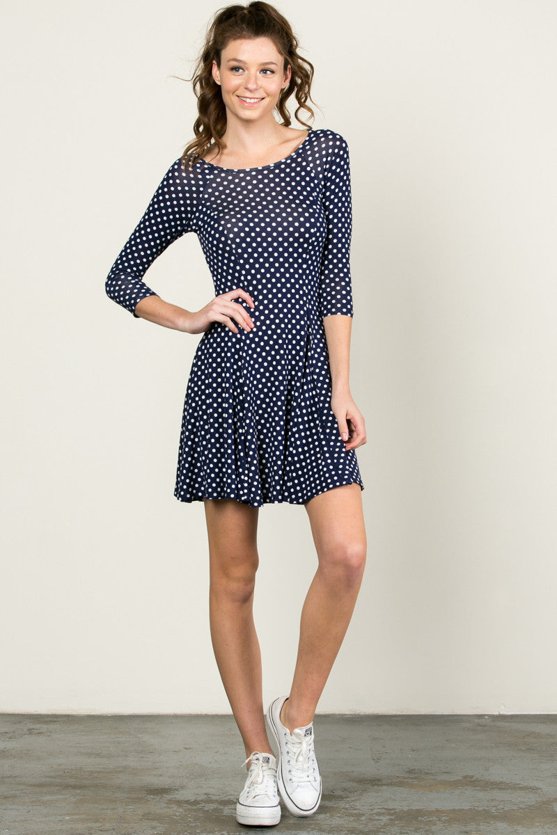 Polka Dots Swing Dress Navy White - Dresses - My Yuccie - 4