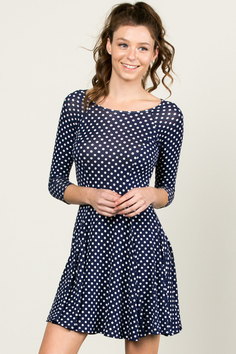 Polka Dots Swing Dress Navy White - Dresses - My Yuccie - 1