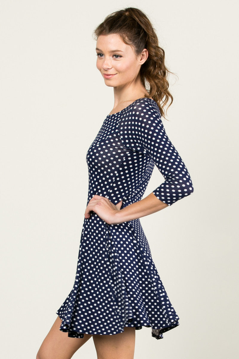 Polka Dots Swing Dress Navy White - Dresses - My Yuccie - 2