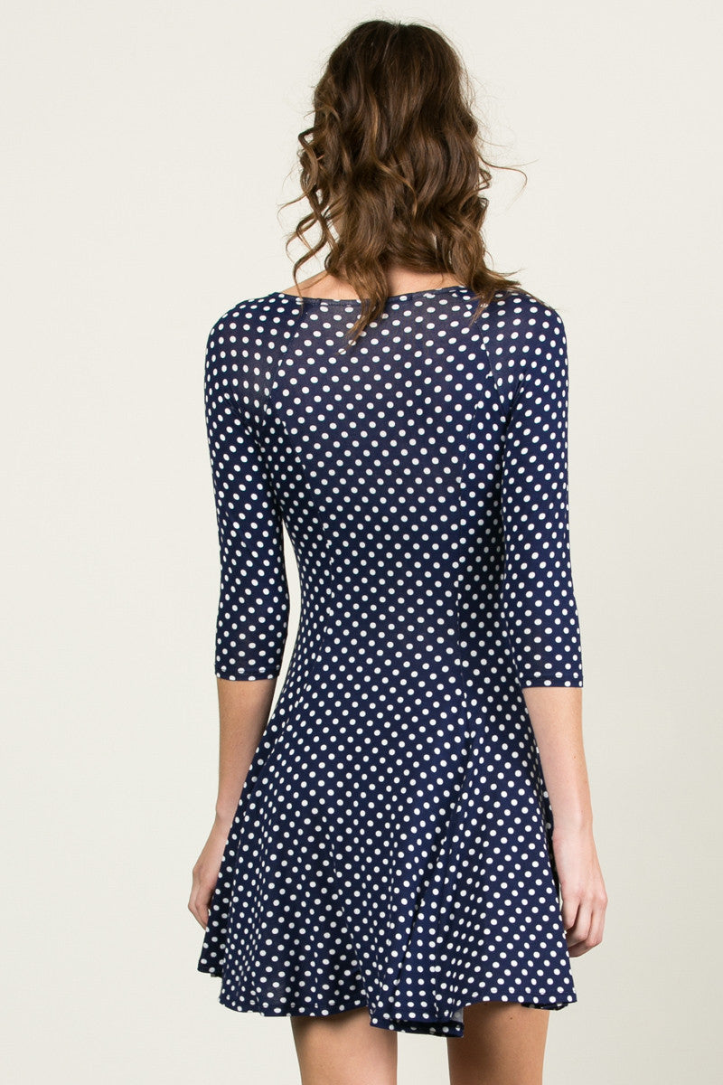 Polka Dots Swing Dress Navy White - Dresses - My Yuccie - 3