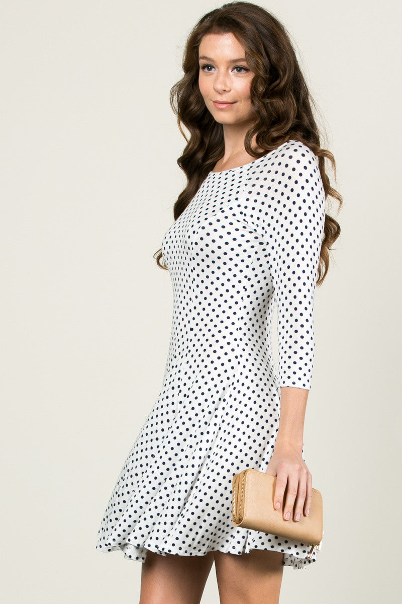 Polka Dots Swing Dress White Navy - Dresses - My Yuccie - 3