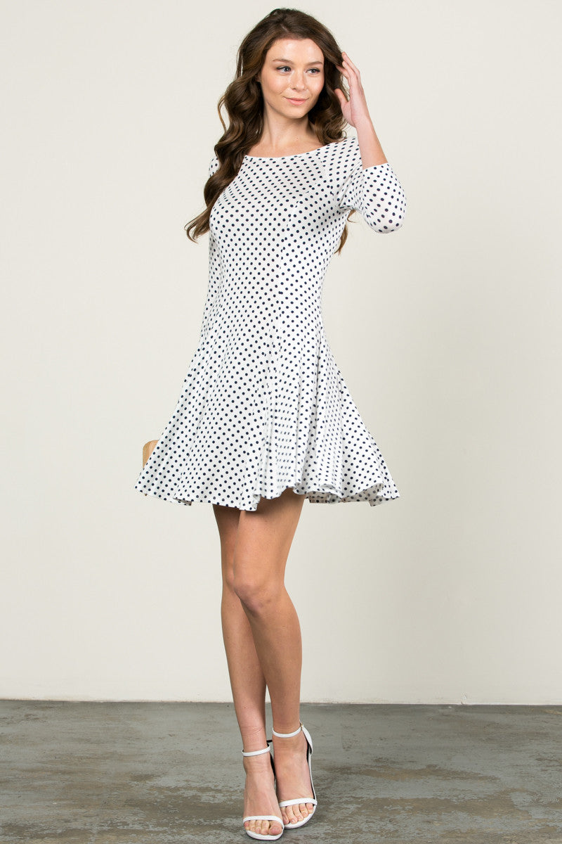 Polka Dots Swing Dress White Navy - Dresses - My Yuccie - 5