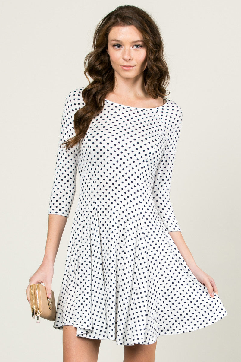Polka Dots Swing Dress White Navy - Dresses - My Yuccie - 1