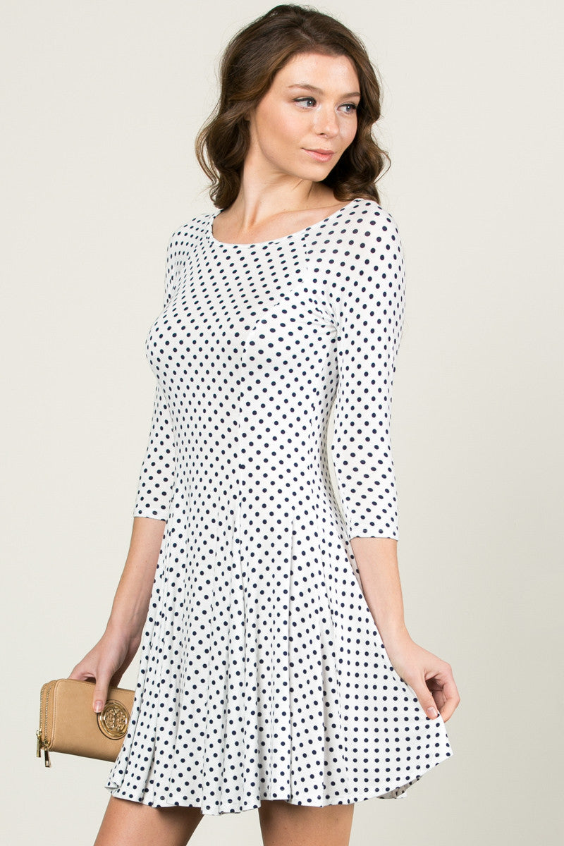 Polka Dots Swing Dress White Navy - Dresses - My Yuccie - 2