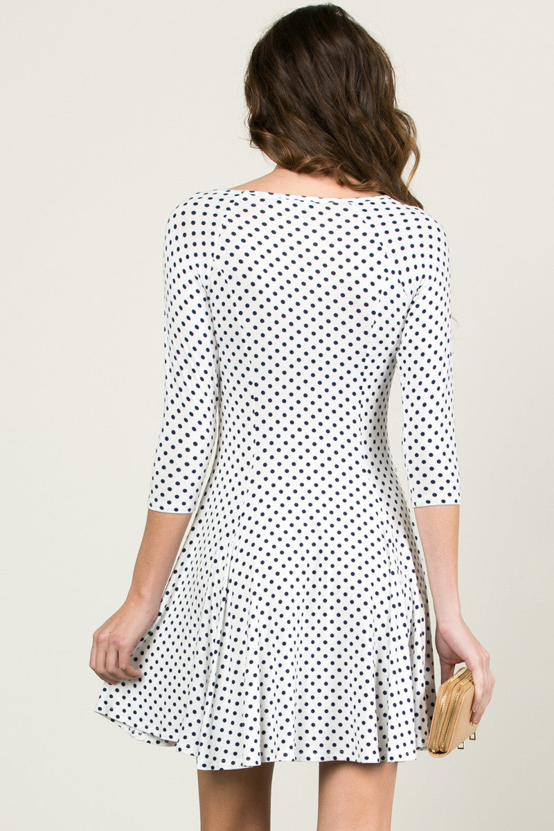 Polka Dots Swing Dress White Navy - Dresses - My Yuccie - 4