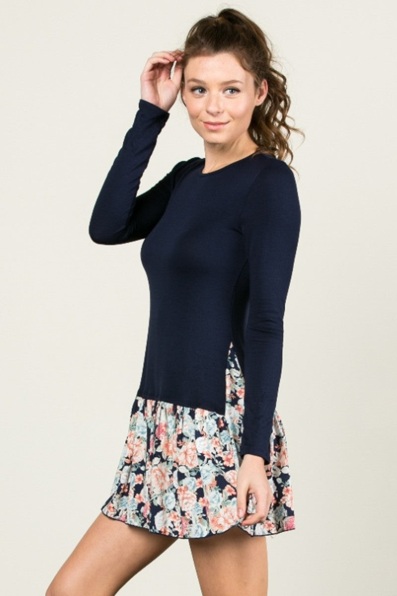 Floral Frill Dress Navy - Tunic - My Yuccie - 2