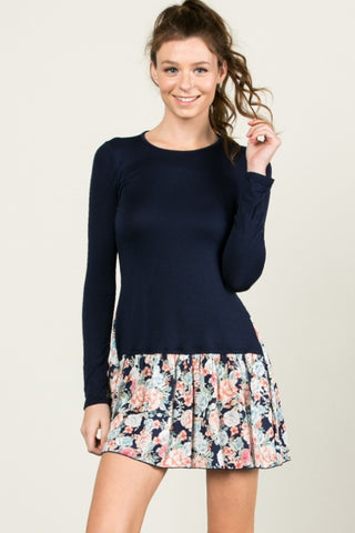 Floral Frill Dress Navy - Tunic - My Yuccie - 1