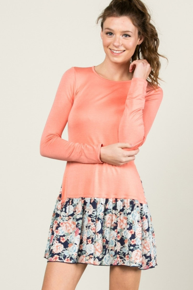 Floral Frill Dress Peach - Tunic - My Yuccie - 4