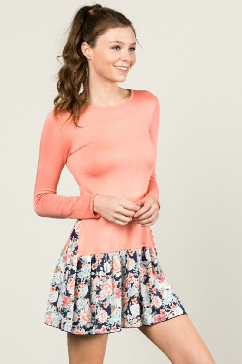 Floral Frill Dress Peach - Tunic - My Yuccie - 5