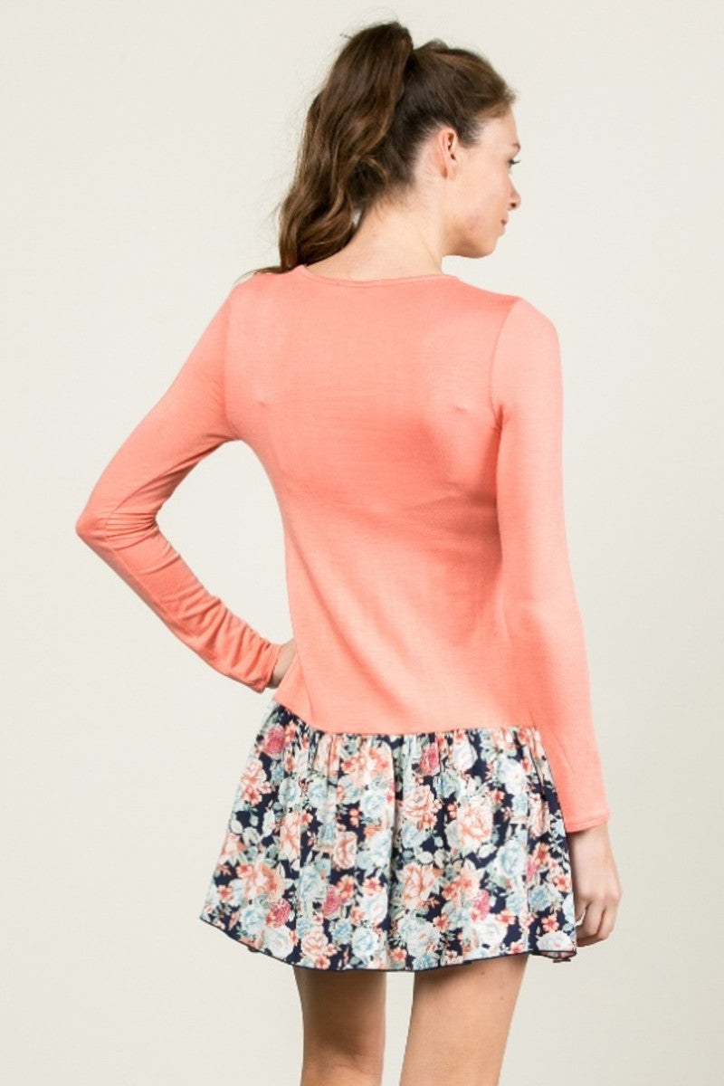 Floral Frill Dress Peach - Tunic - My Yuccie - 6