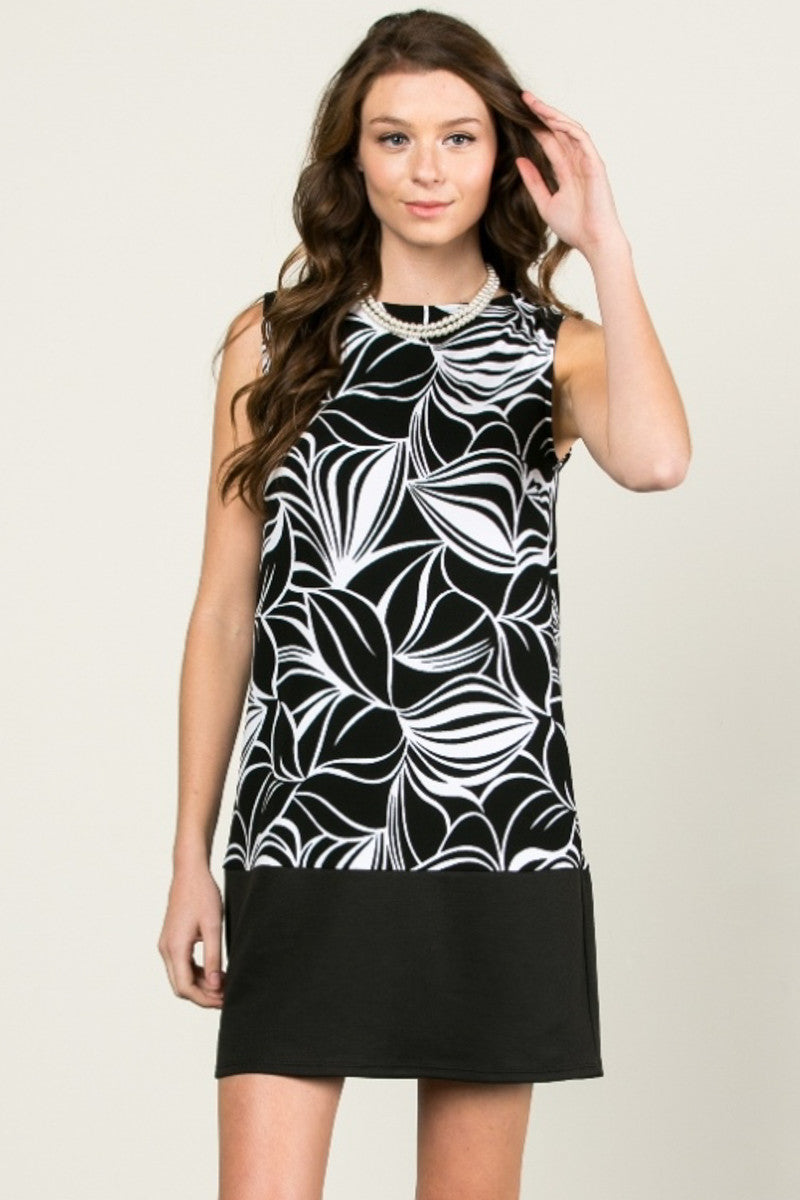 Floral Leaves Dress Black White - dres - My Yuccie - 1