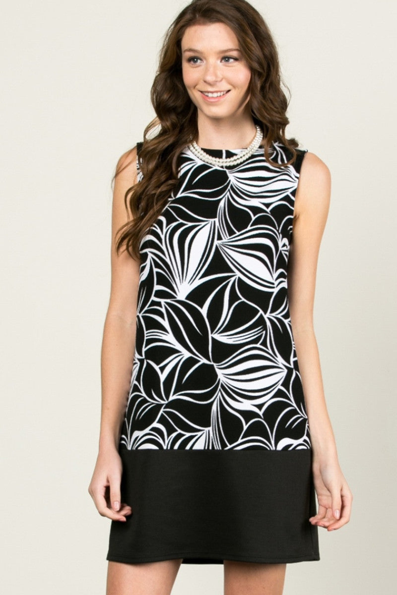 Floral Leaves Dress Black White - dres - My Yuccie - 2