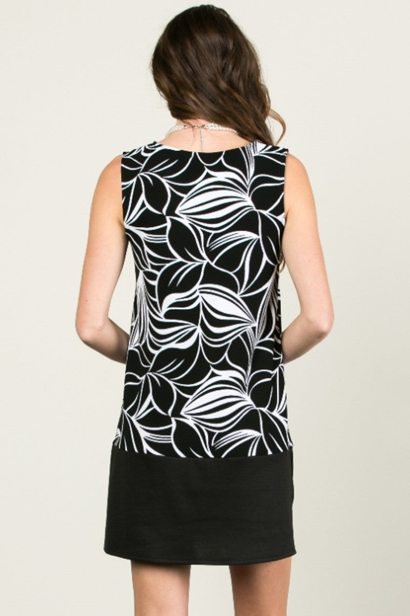 Floral Leaves Dress Black White - dres - My Yuccie - 3