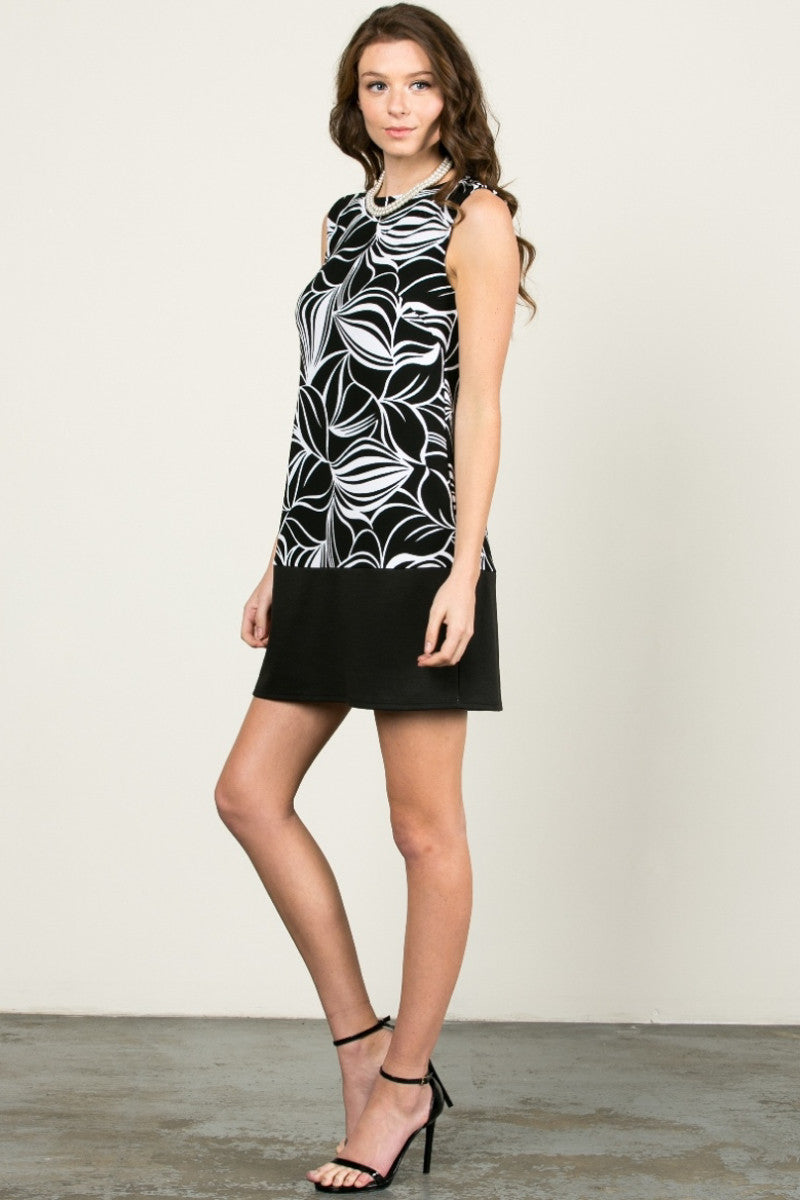 Floral Leaves Dress Black White - dres - My Yuccie - 4