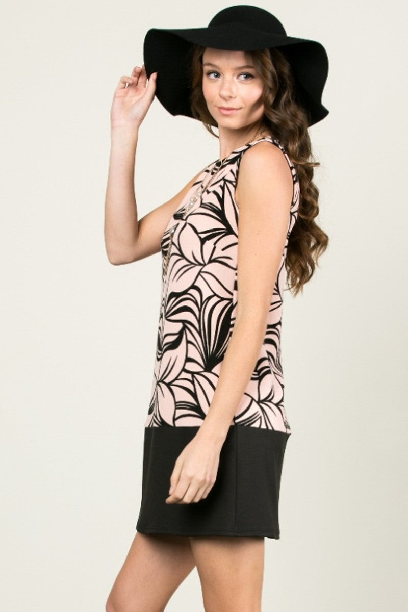 Floral Leaves Dress Blush Black - dres - My Yuccie - 2