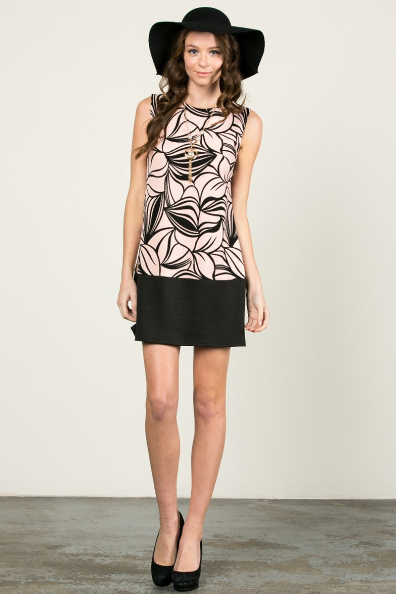 Floral Leaves Dress Blush Black - dres - My Yuccie - 4