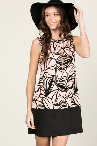 Floral Leaves Dress Blush Black - dres - My Yuccie - 1