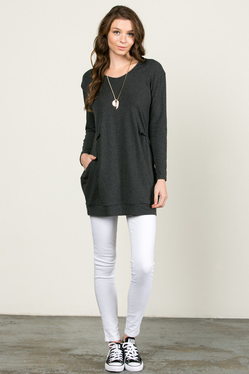 Classic Pockets Top Charcoal - Tunic - My Yuccie - 4