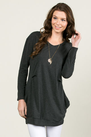 Classic Pockets Top Charcoal - Tunic - My Yuccie - 1