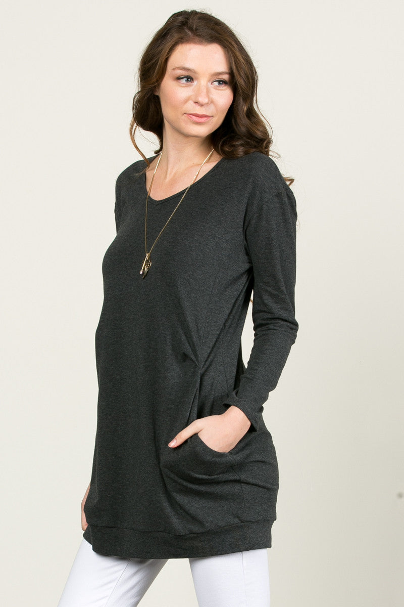 Classic Pockets Top Charcoal - Tunic - My Yuccie - 2