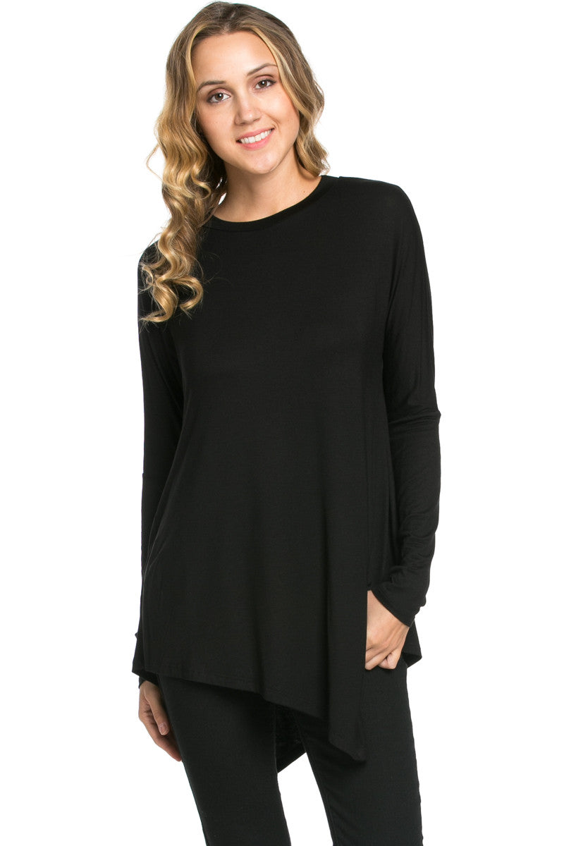 Long Sleeve Handkerchief Hem Tunic Top Black - Tunic - My Yuccie - 1