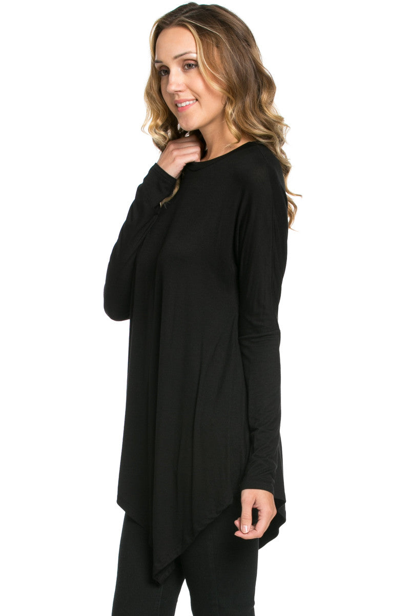 Long Sleeve Handkerchief Hem Tunic Top Black - Tunic - My Yuccie - 2