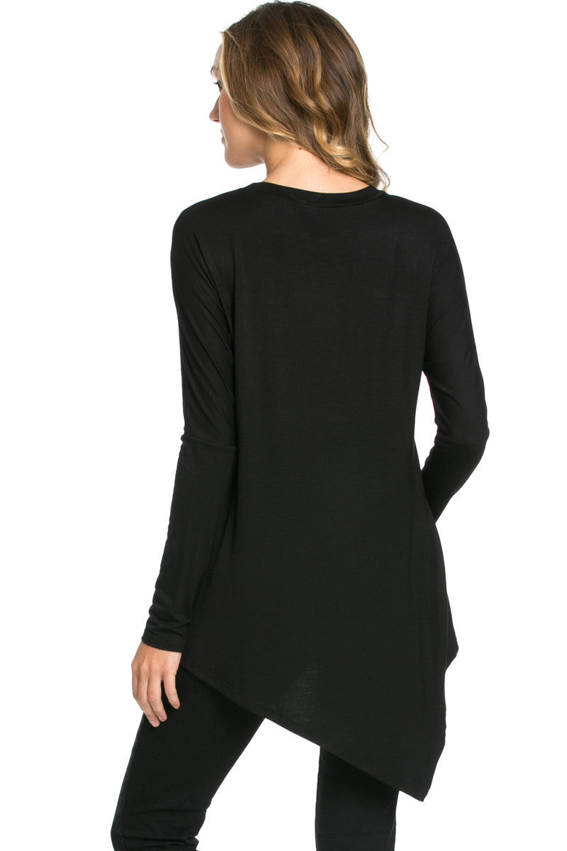 Long Sleeve Handkerchief Hem Tunic Top Black - Tunic - My Yuccie - 3