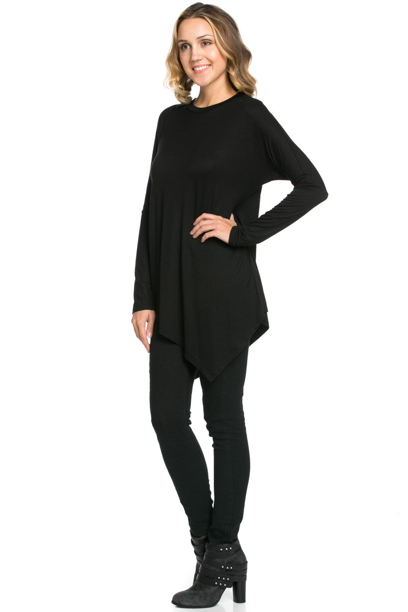 Long Sleeve Handkerchief Hem Tunic Top Black - Tunic - My Yuccie - 4