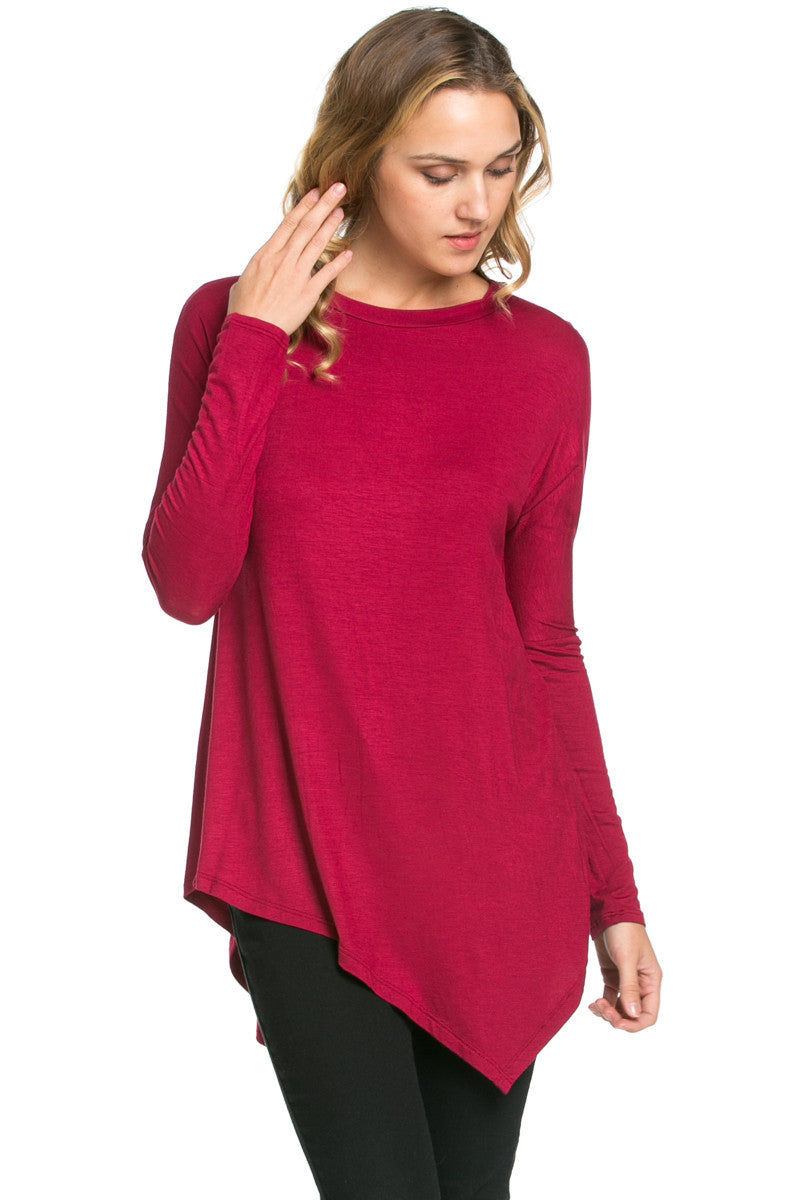 Long Sleeve Handkerchief Hem Tunic Top Burgundy - Tunic - My Yuccie - 2