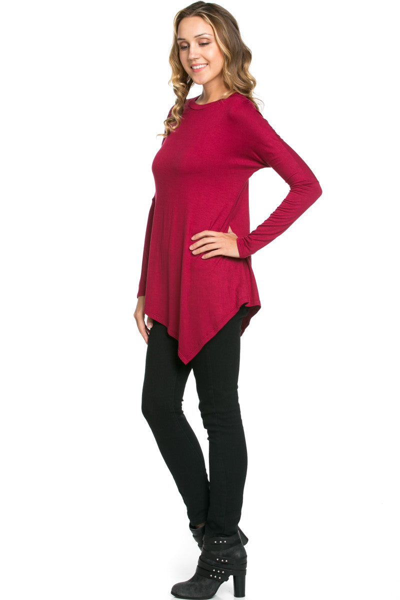 Long Sleeve Handkerchief Hem Tunic Top Burgundy - Tunic - My Yuccie - 4
