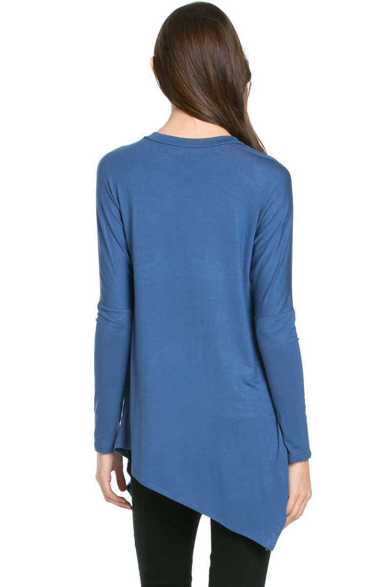 Long Sleeve Handkerchief Hem Tunic Top Indigo Blue - Tunic - My Yuccie - 3
