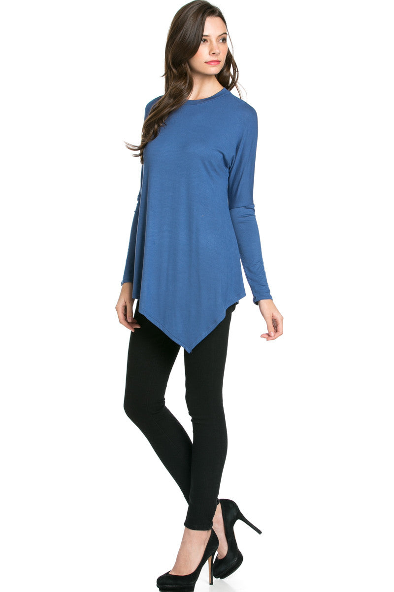 Long Sleeve Handkerchief Hem Tunic Top Indigo Blue - Tunic - My Yuccie - 4