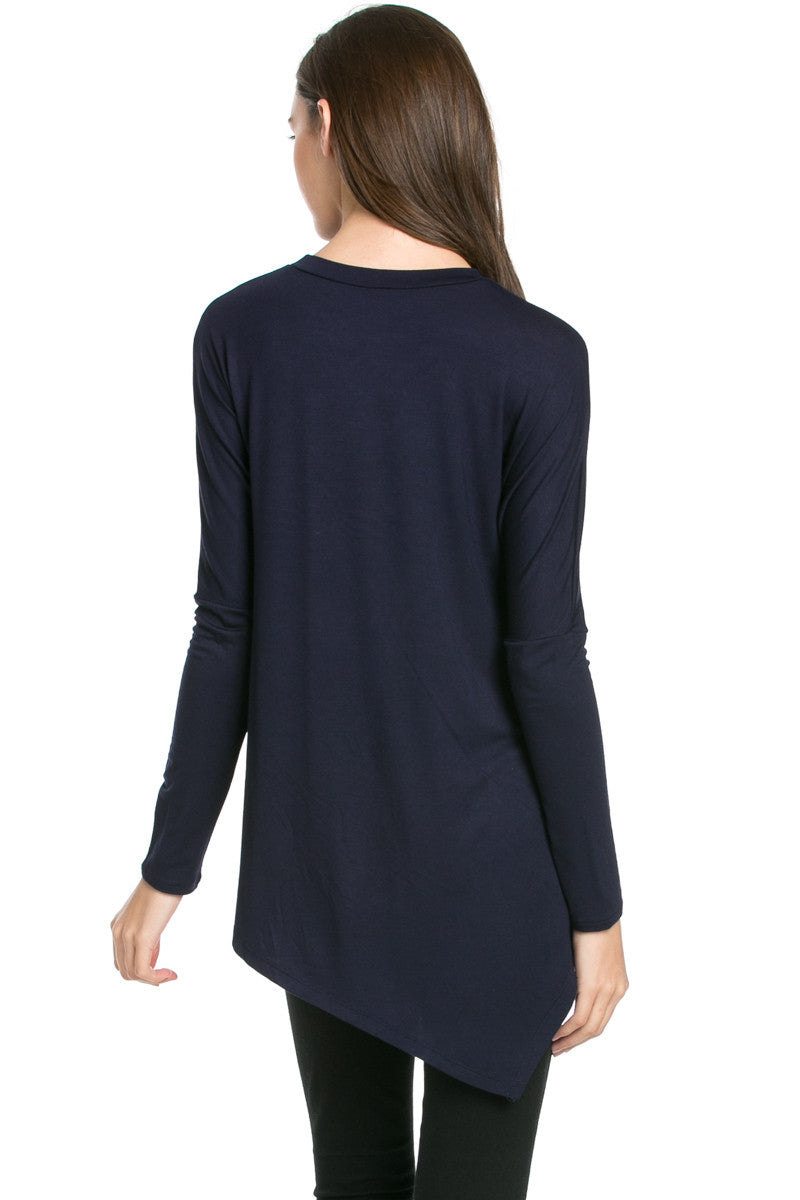 Long Sleeve Handkerchief Hem Tunic Top Navy - Tunic - My Yuccie - 3