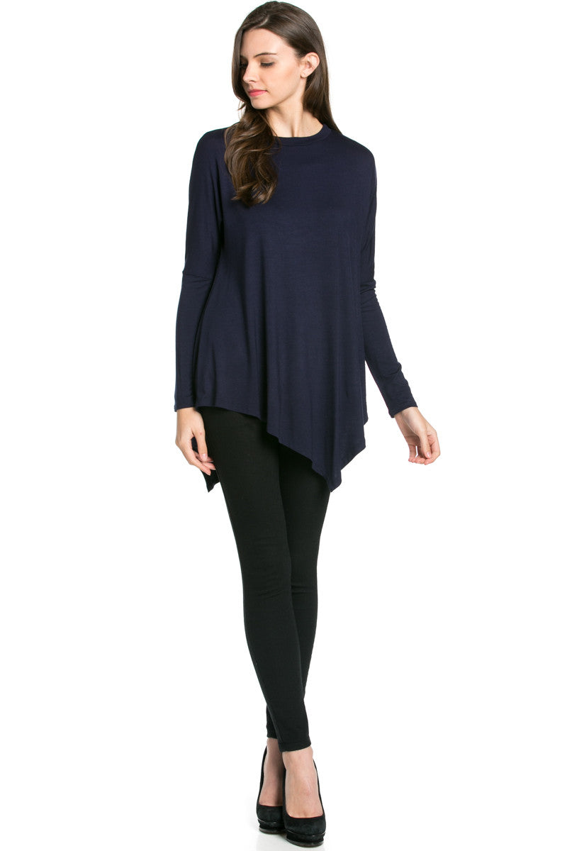 Long Sleeve Handkerchief Hem Tunic Top Navy - Tunic - My Yuccie - 4
