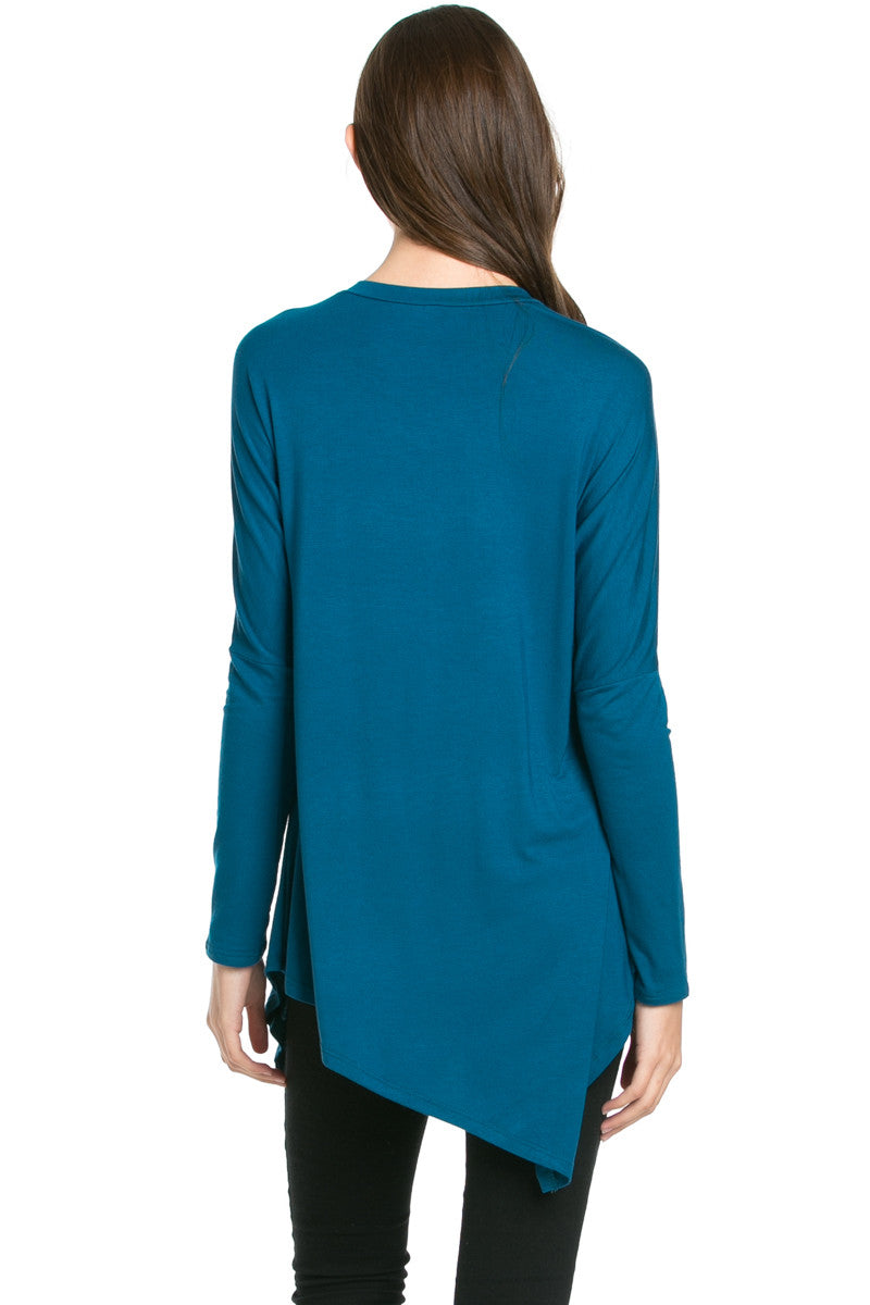 Long Sleeve Handkerchief Hem Tunic Top Teal - Tunic - My Yuccie - 2