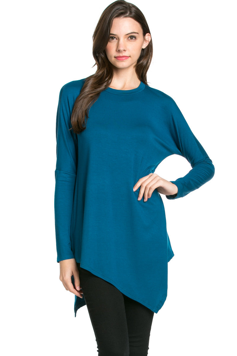 Long Sleeve Handkerchief Hem Tunic Top Teal - Tunic - My Yuccie - 3
