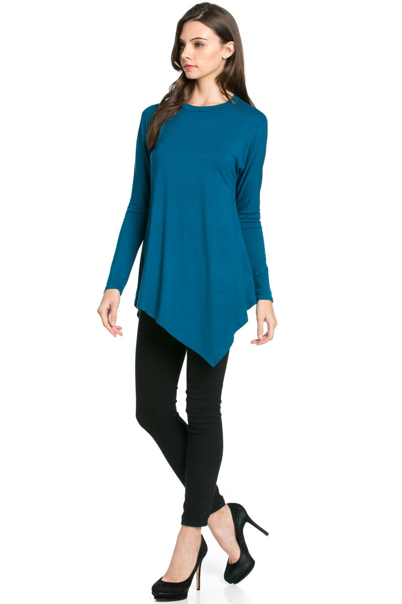 Long Sleeve Handkerchief Hem Tunic Top Teal - Tunic - My Yuccie - 4