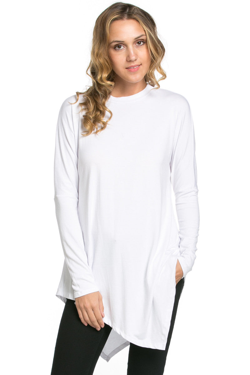 Long Sleeve Handkerchief Hem Tunic Top White - Tunic - My Yuccie - 1