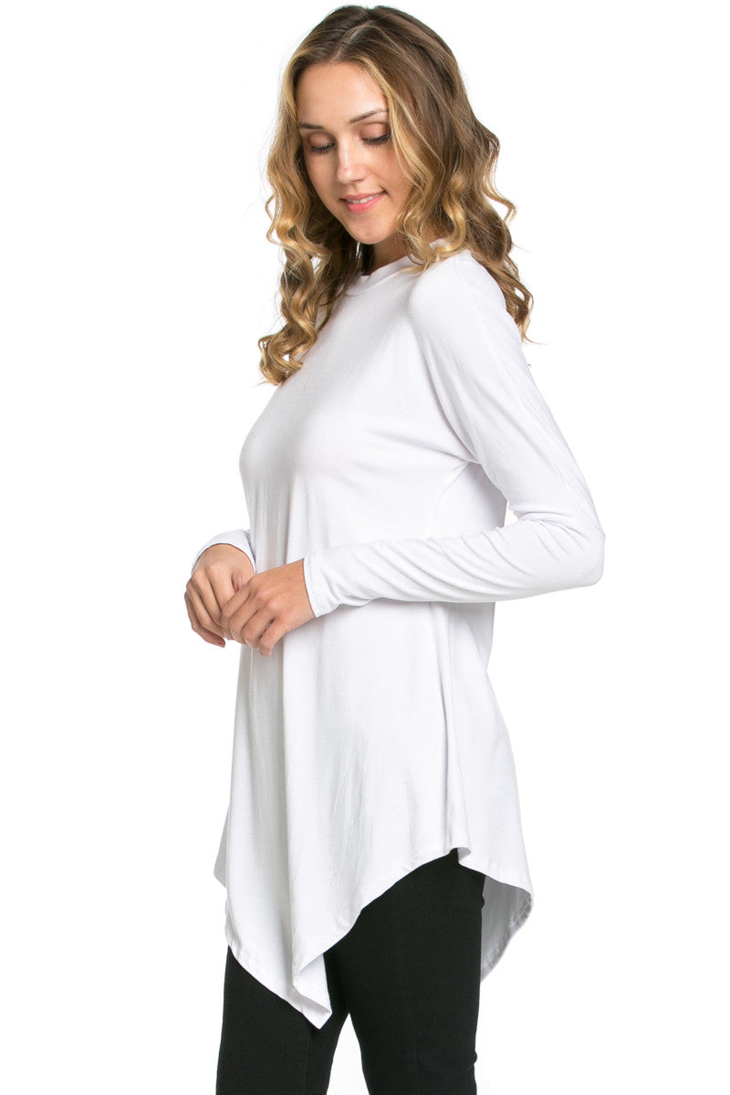 Long Sleeve Handkerchief Hem Tunic Top White - Tunic - My Yuccie - 2